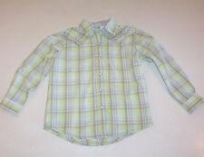 Girl's Rock 47 Yellow and Gray Plaid Print Snap Cotton Shirt Small