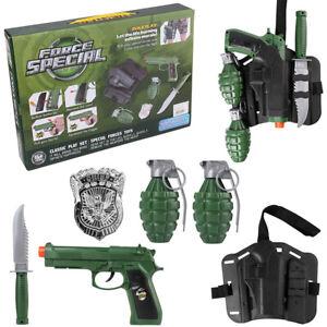 Kids Military Toy Gun Combat Role Play Set W/ Pistol Knife Grenade Badge Holster