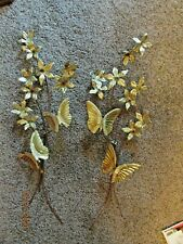 2 Homco Butterfly Wall Plaques Home Interiors Gold Metal