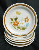 4 HIGHLAND FLORALS COLLECTION GENUINE STONEWARE DESSERT SALAD BREAD PLATES 6-1/4