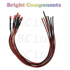 5 x Pre-Wired Red LED 3mm Diffused : 9V ~ 12V : 1st CLASS POST