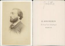 Gambetta CDV vintage albumen.  Tirage albuminé  6,5x10,5  Circa 1870  <div