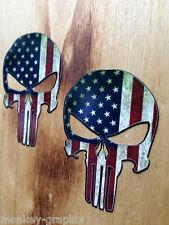 2er Punisher USA Oldschool Aufkleber Sticker Vintage Retro US Cars V8 Bikes