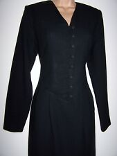 Laura Ashley vintage Winter' 93 wool crepe evening knee-length dress size 12 UK