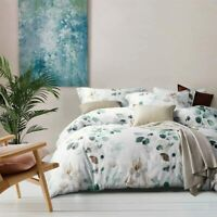 White Floral Leaf Queen Size Cotton Bedding Duvet Cover Sets w/ 2 Pillow Shams