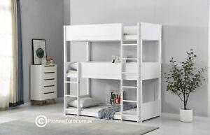 Bunk Bed Wooden frame triple sleeper children 3ft adult 3 tier bunk bed white