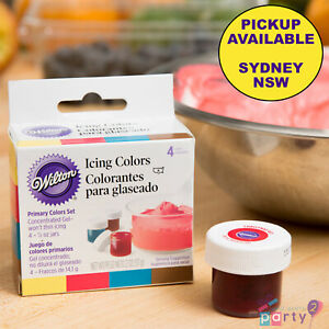 WILTON 4 PRIMARY COLOURS ICING SET FOOD COLOURING GEL PASTE CAKE DECORATING