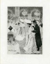 """""""LE CAFE DE PARIS"""" Eau-forte originale entoilée Abel TRUCHET 1904 26x32cm"""