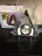Triangle Wood Frame with Hanging Pocket Watch Clock Novelty