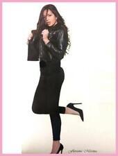 leggings leggins pantacollant fitness da donna cotone elasticizzato nero lungo