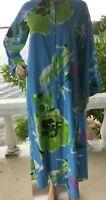 Natori Caftan Dress Womens Size XS A-line Zip Up Front Loose-Fit Sky Blue Green