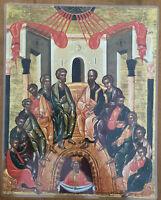 "Icon of Pentecost 14x11"" Laminated Greek Orthodox Icon #12"