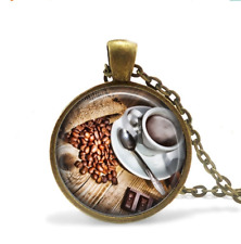 Coffee jewelry Brown coffee bean necklace Glass Cabochon Bronze chain Necklace