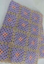 Handmade Crochet AFGHAN LAP BLANKET PATCHWORK Sqs Lilac PURPLE Taupe PEACH 36x48