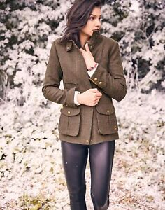 Joules Womens Fieldcoat Tweed Coat - Green Tweed - 12