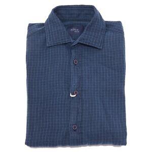 1471X camicia uomo ALTEA INDACO blue shirt heavy cotton men