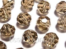 20Pc 6mm Austrian Precision 5000 Crystal Faceted Round Beads - Grey Greige