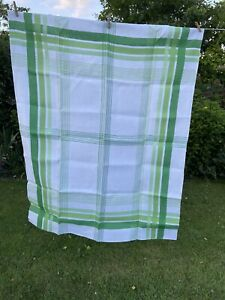 Irish Linen Green Checked Table Cloth. New Old Stock Vintage