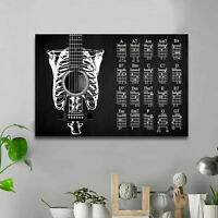 Y337 Art Wall Poster Guitar Chords Chart Key Music Graphic Exercise