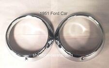 1951 Ford Shoebox New Chrome Headlight Trim Ring Bezels
