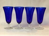 CAMBRIDGE GLASS ~ SET OF 4 COBALT BLUE CLEAR STEM ~ WATER / ICED TEA GLASSES