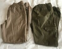 2 Forever 21 Joggers Drawstring Pants Green Cargo Khaki 100% Cotton Size Small
