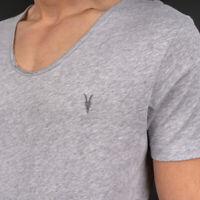 Allsaints Men's Towus Scoop Light Grey Marl Tshirt -MD111L-Convenient Operation