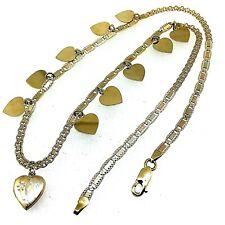"14 Kt Solid Custom-Made Tri-Color Diamond Cut Dangle Necklace 18"" Long"