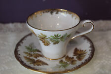 LOVELY AYNSLEY CORSET SHAPE TEA CUP AND SAUCER WITH FERN LEAVES
