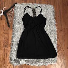 A. Byer Black Tunic Chiffon Strappy Racerback Dress Small