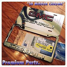 GMC Yukon Denali 3D License Plate + Frame Mirror Chrome New OEM Genuine GM USA//