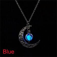 Glow In The Dark Moon & Pumpkin Pendant Luminous Stone Necklace Silver Jewelry