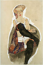 Egon Schiele Reproductions: Seated Girl with Black Stockings - Fine Art Print