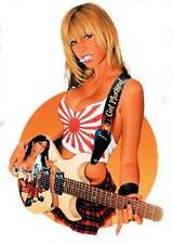 SEXY Rising Sun Rock Star Blonde GUITAR SCHOOLGIRL STICKER/VINYL DECAL Nestler