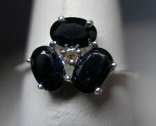 Plata de Ley Original anillo de zafiro y diamantes