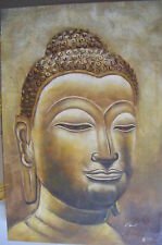 "LARGE BUDDHA HEAD ART OIL PAINTING 24X36"" STRETCHED"