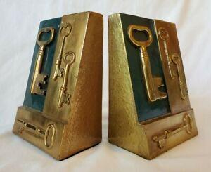 Vintage Marion Bronze Skeleton Key Bookends NICE!