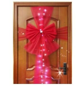 Large Door Bow With White LEDs Full Wrap Double Wedding Traditional Party - RED
