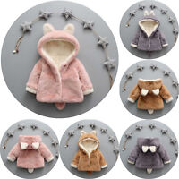 Kids Baby Toddler Fur Fox Ear Hooded Coat Winter Warm Cloak Cute Jacket Outwear