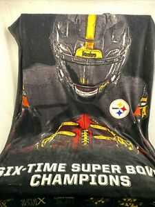 """Pittsburgh Steelers NFL Super Bowl Champions 6 Times Throw Blanket 66"""" X 43"""""""