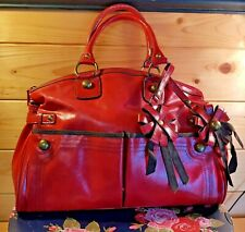 NEXT - RED FAUX LEATHER HANDBAG WITH BROWN ACCENTS