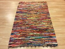 Multi Yellow Handwoven Rag Rug Funky Recycled Mix Textures 110x180cm 50%OFF