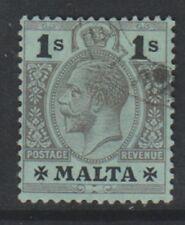 More details for malta - 1914, 1s black/green stamp - wmk mult crown ca - f/u - sg 81