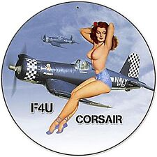 US Navy Corsair F4U  round steel sign  360mm  diameter (pst)