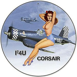 US Navy Corsair F4U round steel sign 360mm diameter (pst)