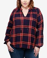 Lucky Brand Trendy Plus Size Plaid Peasant Top