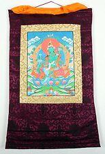 Thangka des verts en tara rouge franges cadre peinte yoga Bouddhisme Népal