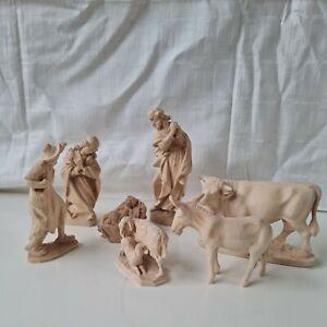 7 Krippenfiguren Holz geschnitzt natur 12,5 cm Serie