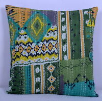 "16"" INDIAN GREEN IKAT CUSHION PILLOW COVERS KANTHA THROW Ethnic Decorative Art"