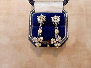 VINTAGE  EARRINGS Art Deco CLIP ON 60/70s Silver Tone DIAMANTE Dangle/Flower s.
